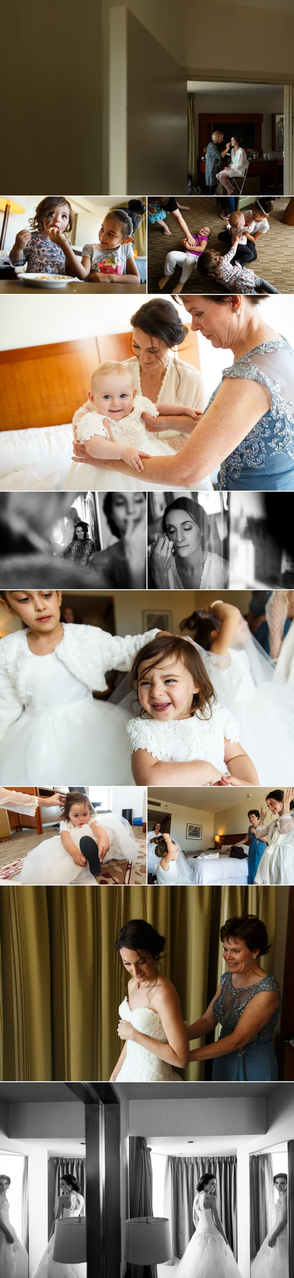 Photographs of a bride getting ready on her wedding day at the Westin hotel in Ottawa