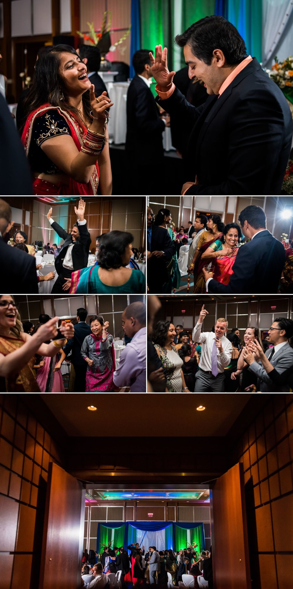 The bride and groom dancing with their guests during the wedding reception at the Brookstreet Hotel & Resort