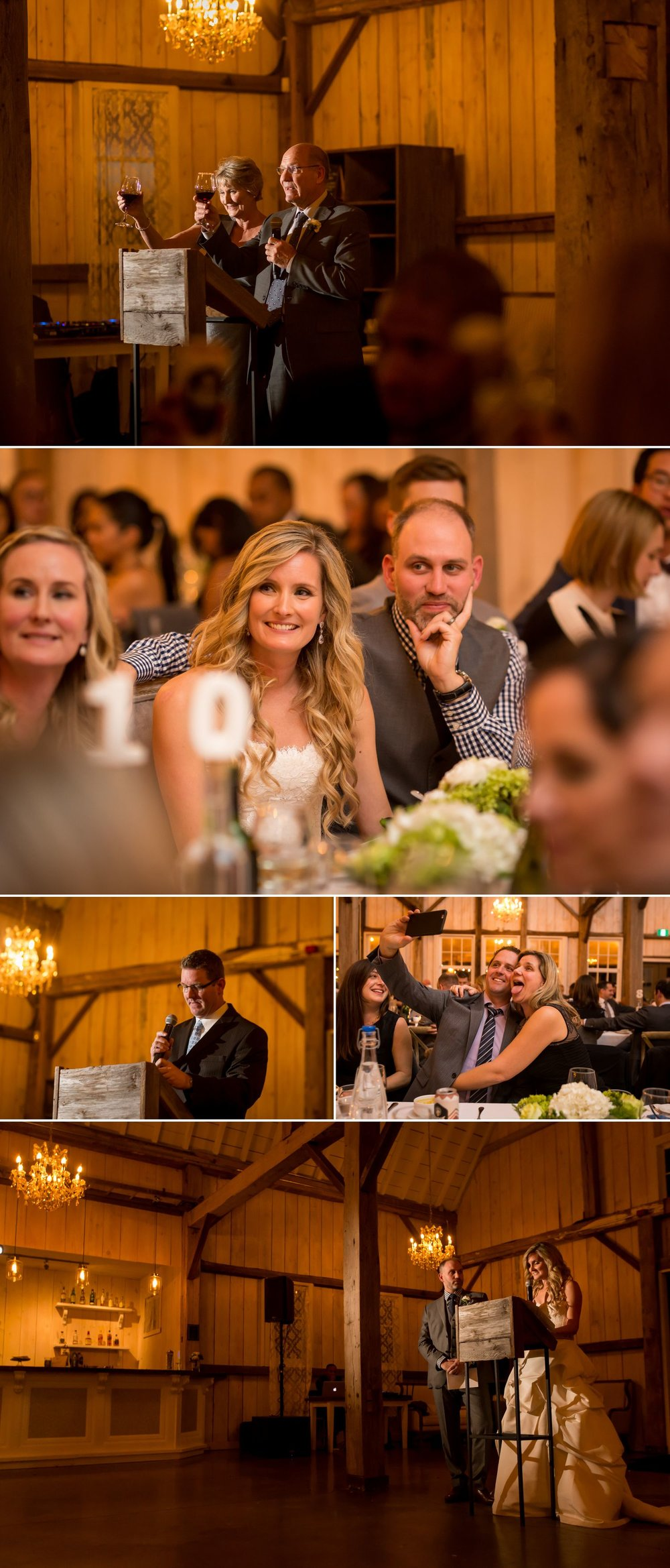 A wedding reception inside the barn at Stonefields Heritage Farm