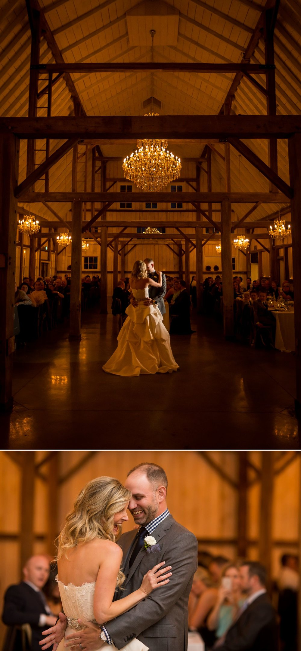 The bride and groom during their first dance at Stonefields