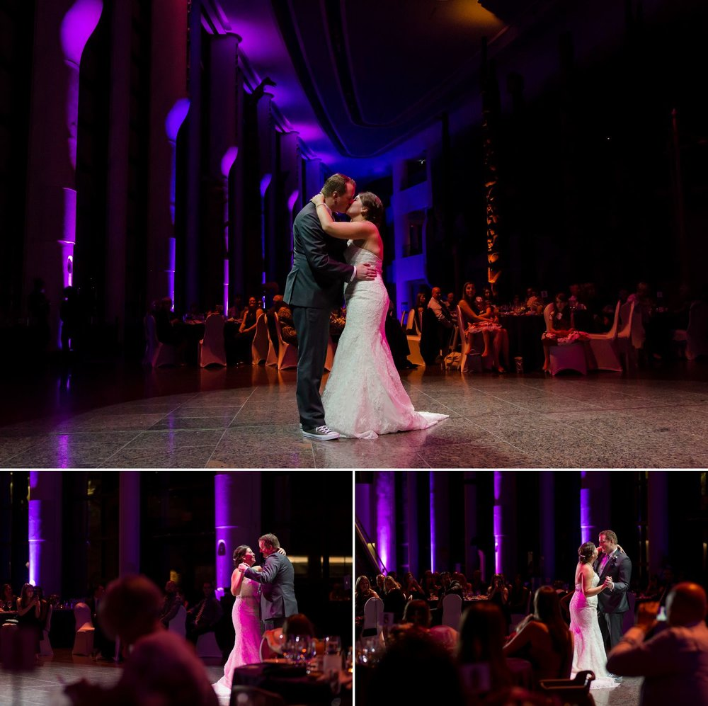 First dance as a married couple during their wedding reception The Museum of History in Ottawa.