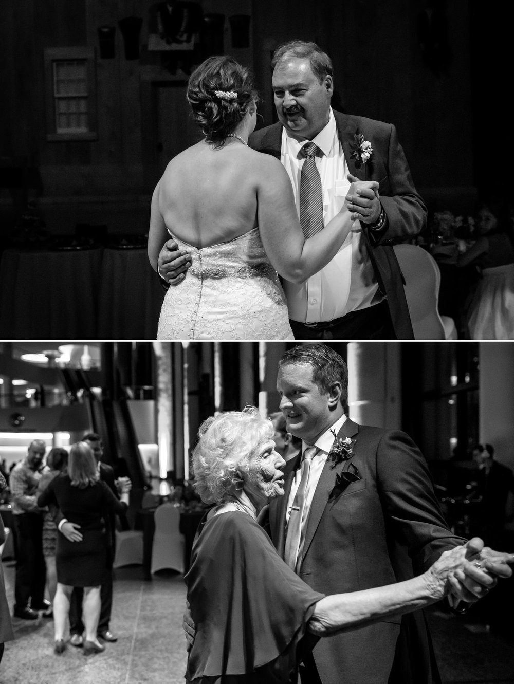 Bride and groom during their first dances with their Father and Grandmother at the Museum of History in Ottawa.