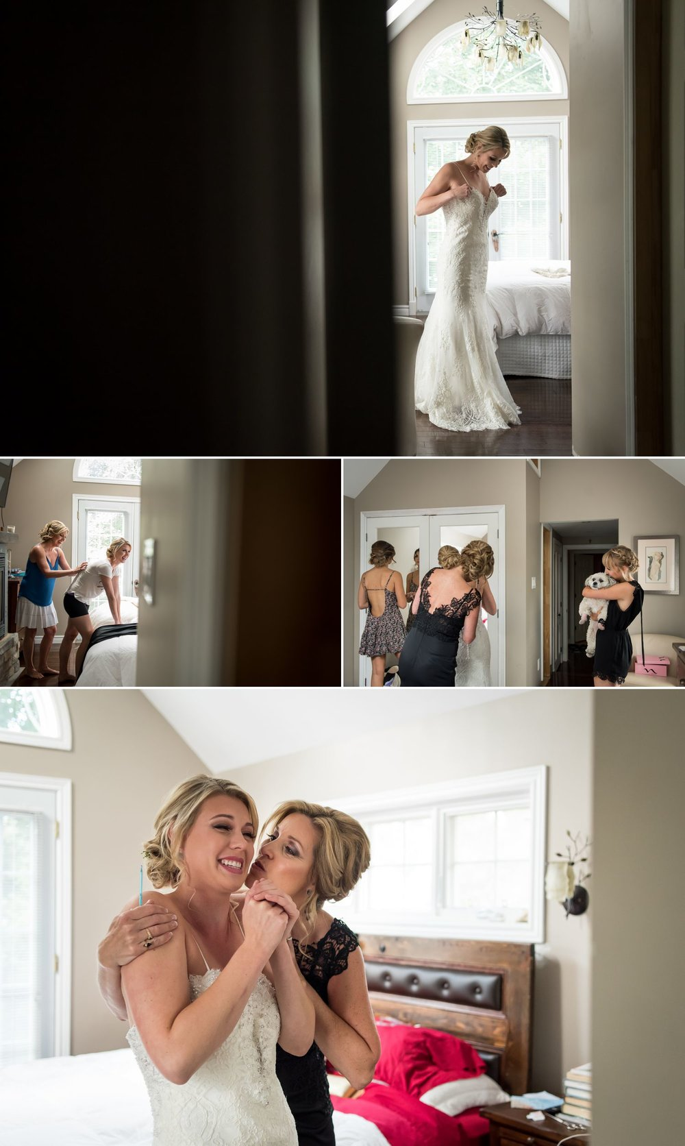 The bride with her family and bridesmaids getting ready at their home in Ottawa, ON.
