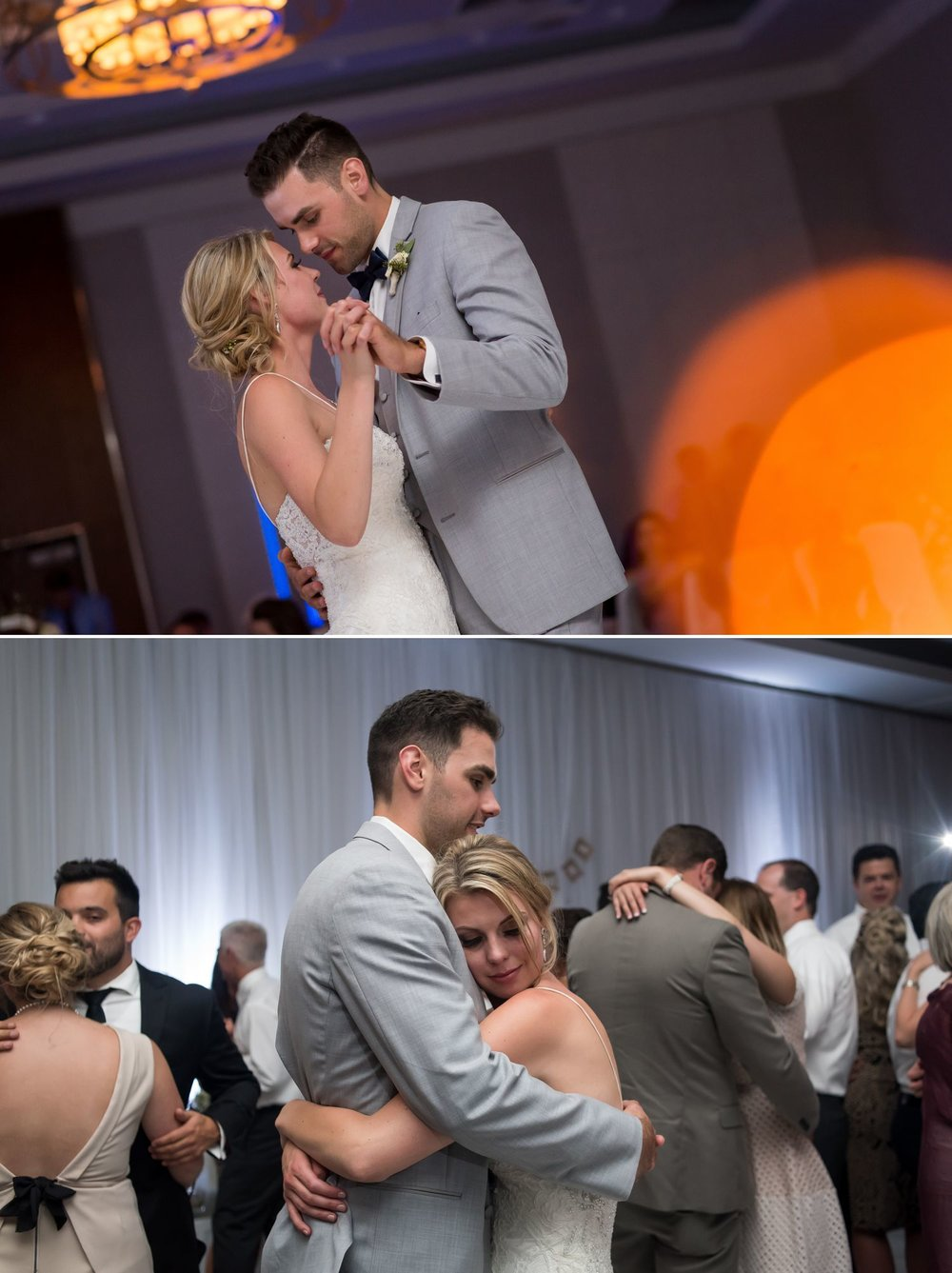 The bride and groom during their first dance at their wedding reception at The Delta Hotel in downtown Ottawa