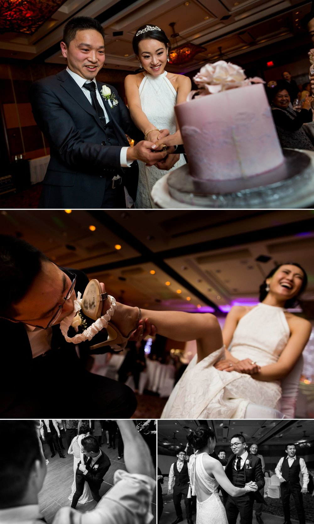 Bride and groom during their cake cutting, garter toss, and dancing with friends at their Hilton Casino Lac Leamy wedding reception