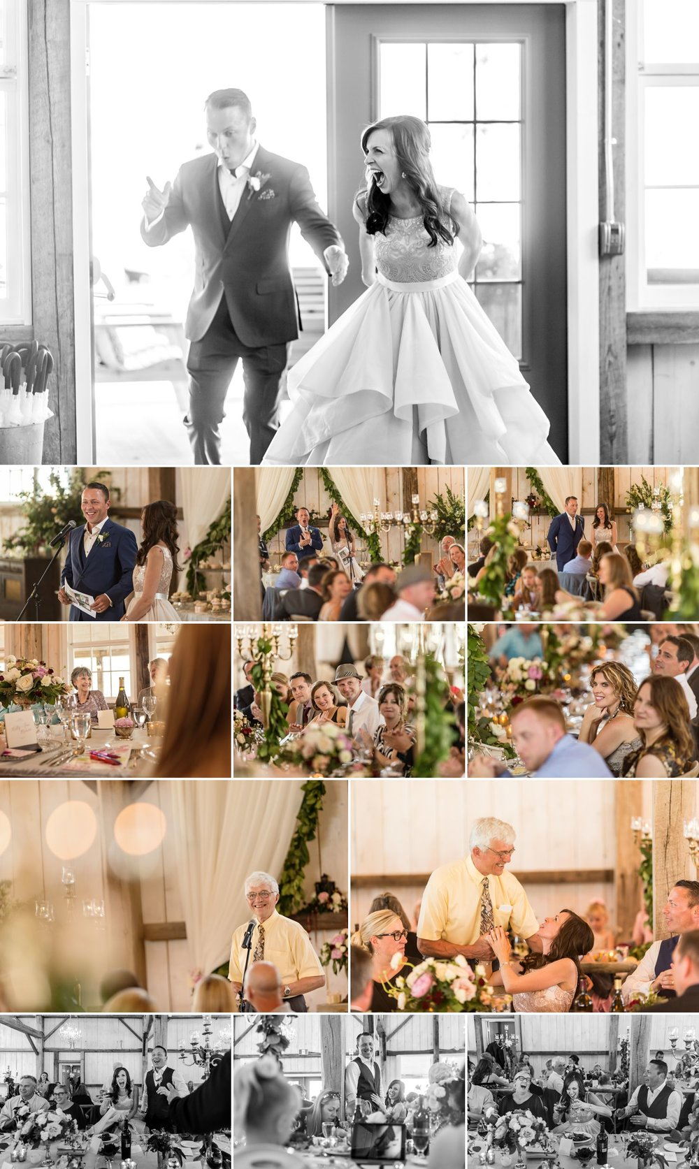 candid reception moments at a wedding at stonefields carleton place ontario