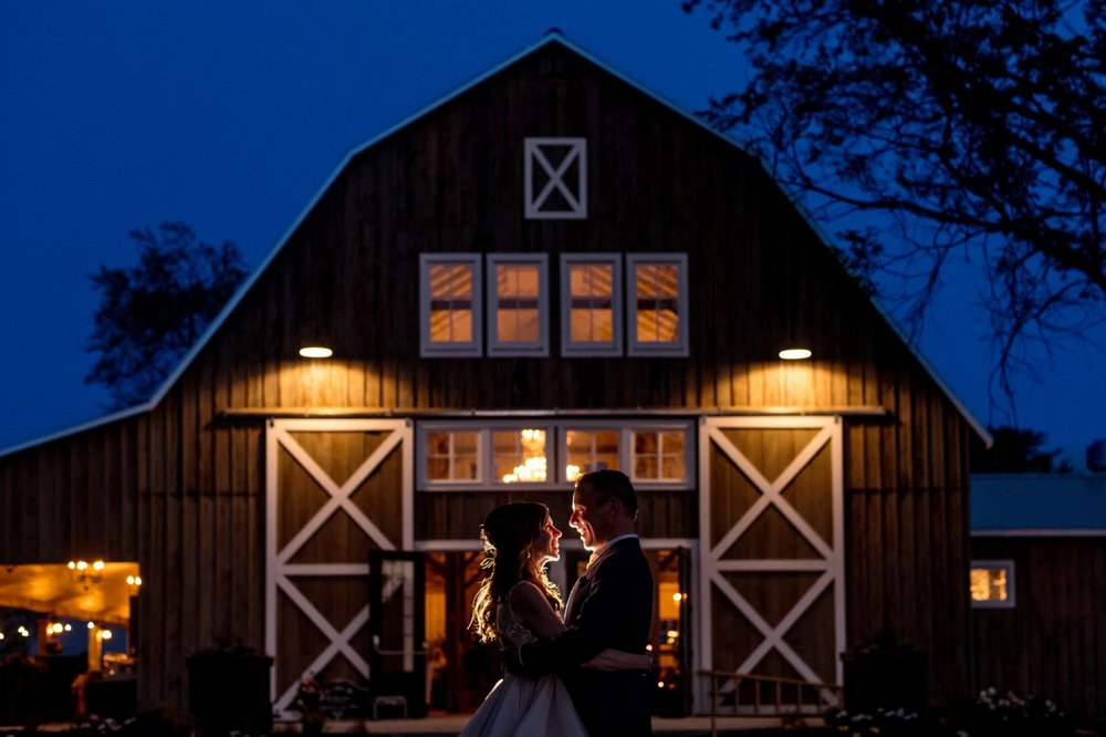 nighttime bride and groom portrait at a wedding at stonefields carleton place ontario