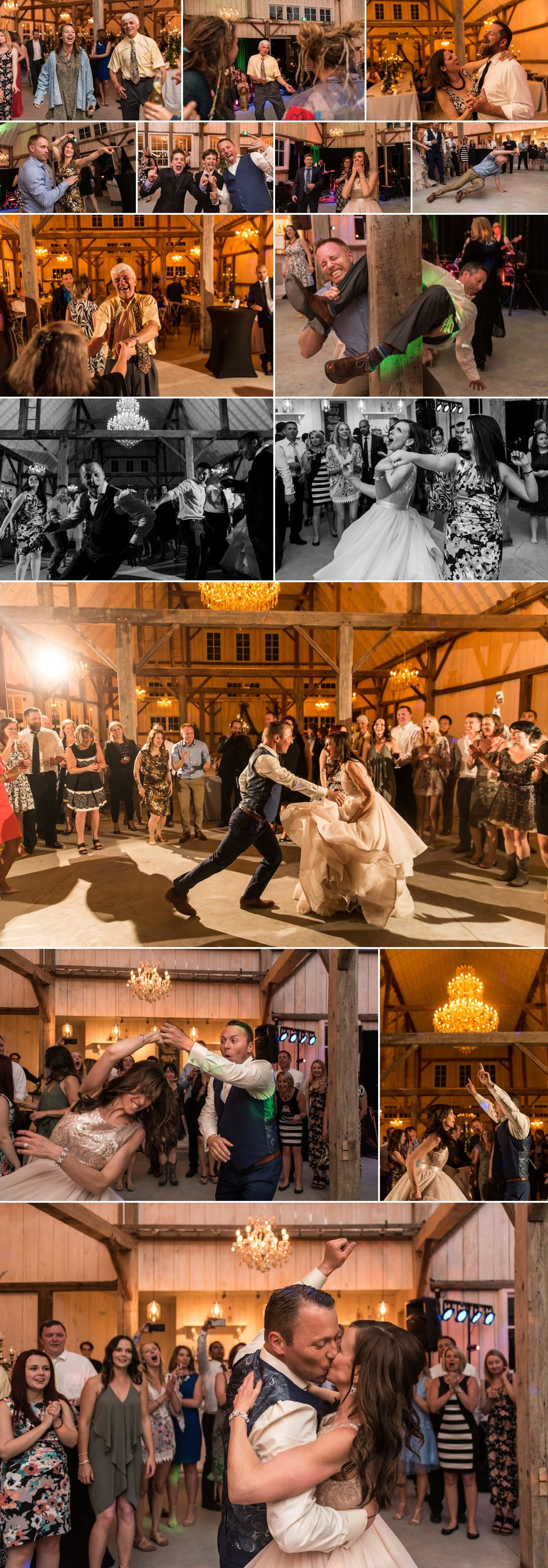 candid dance party moments at a wedding at stonefields carleton place ontario