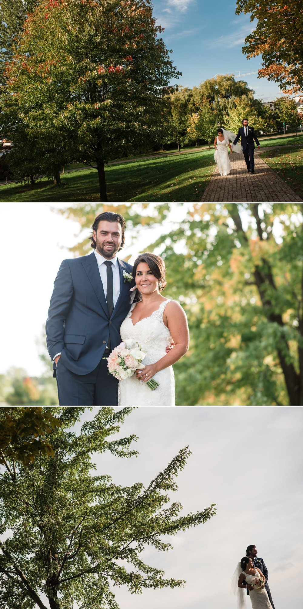 Wedding portraits of the bride and groom in a park in Ottawa
