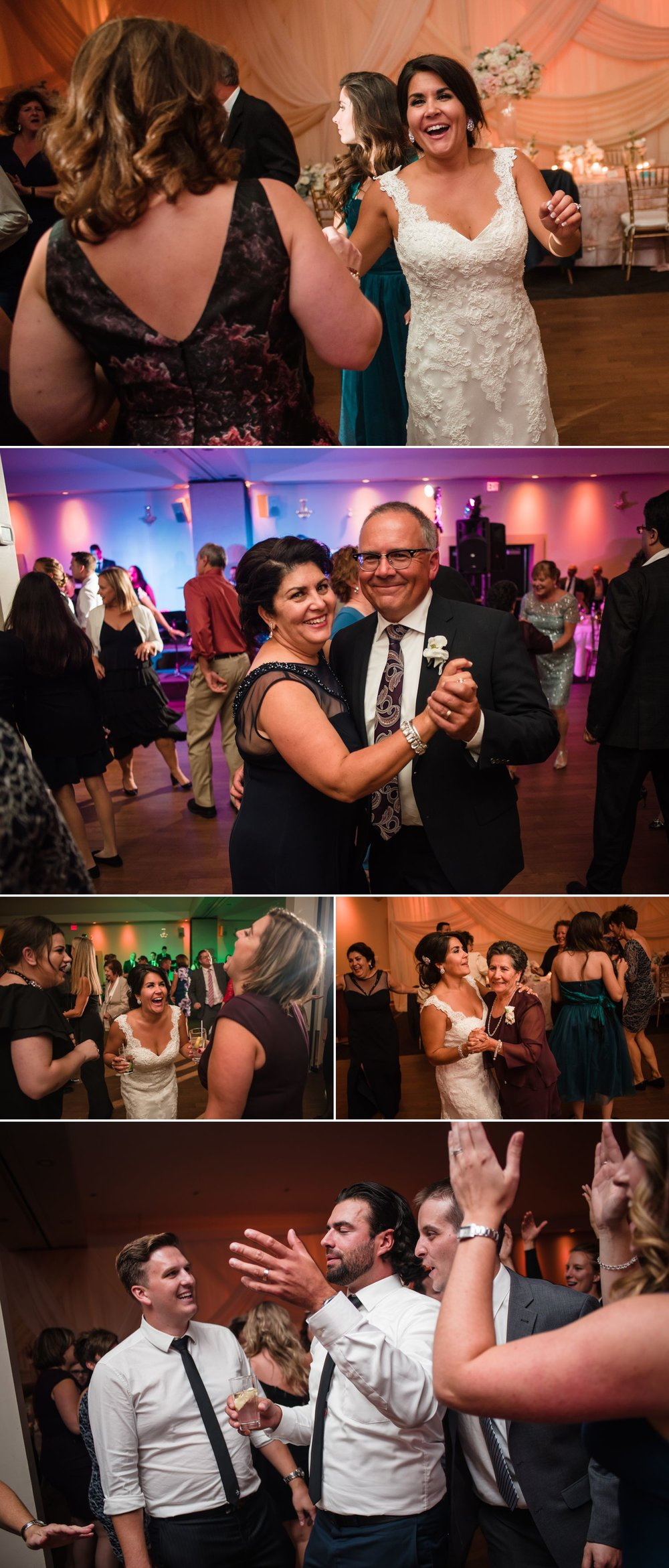 The bride and groom dancing with their guests during their wedding reception at the Centurion Conference Centre, Ottawa.