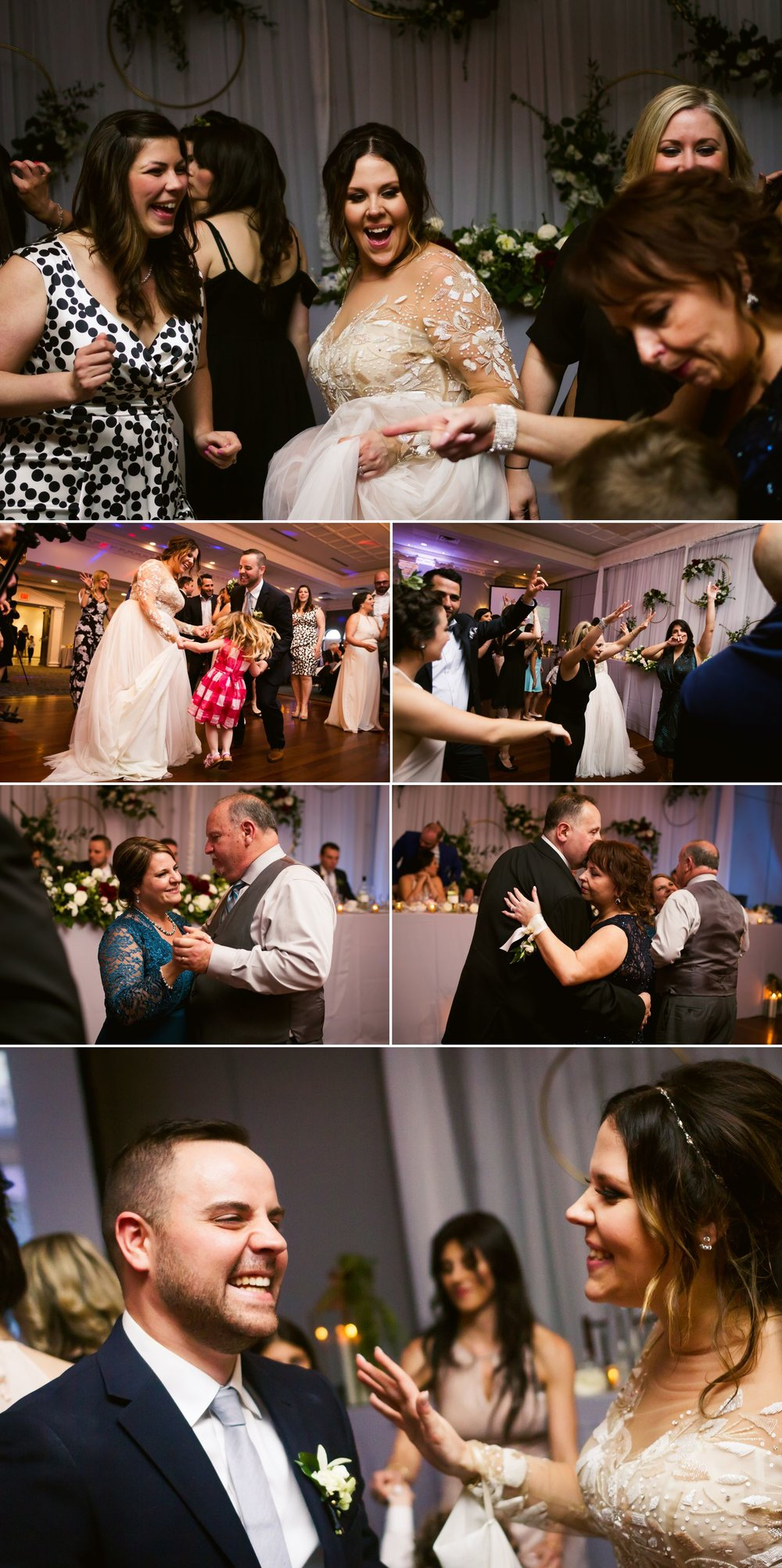 The bride and groom dancing with guests during their wedding reception at Sala San Marco in Ottawa