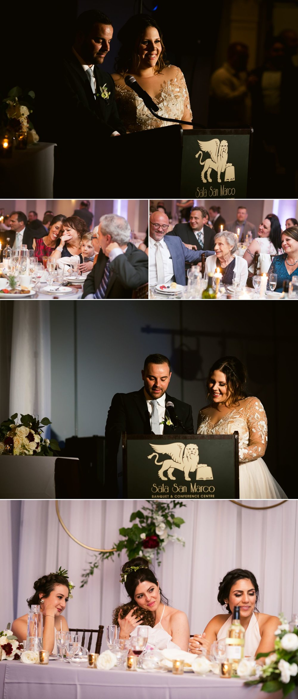 The bride and groom giving their wedding speech during their reception at Sala San Marco in Ottawa