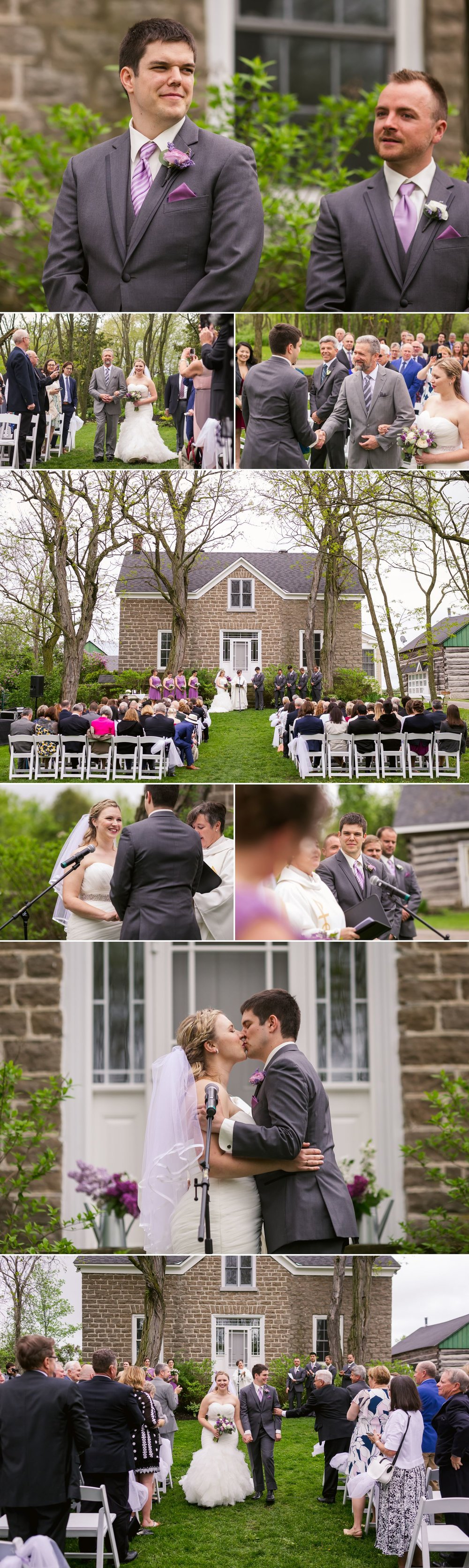 An outdoor spring wedding ceremony infront of the old stone house at Stonefields wedding venue