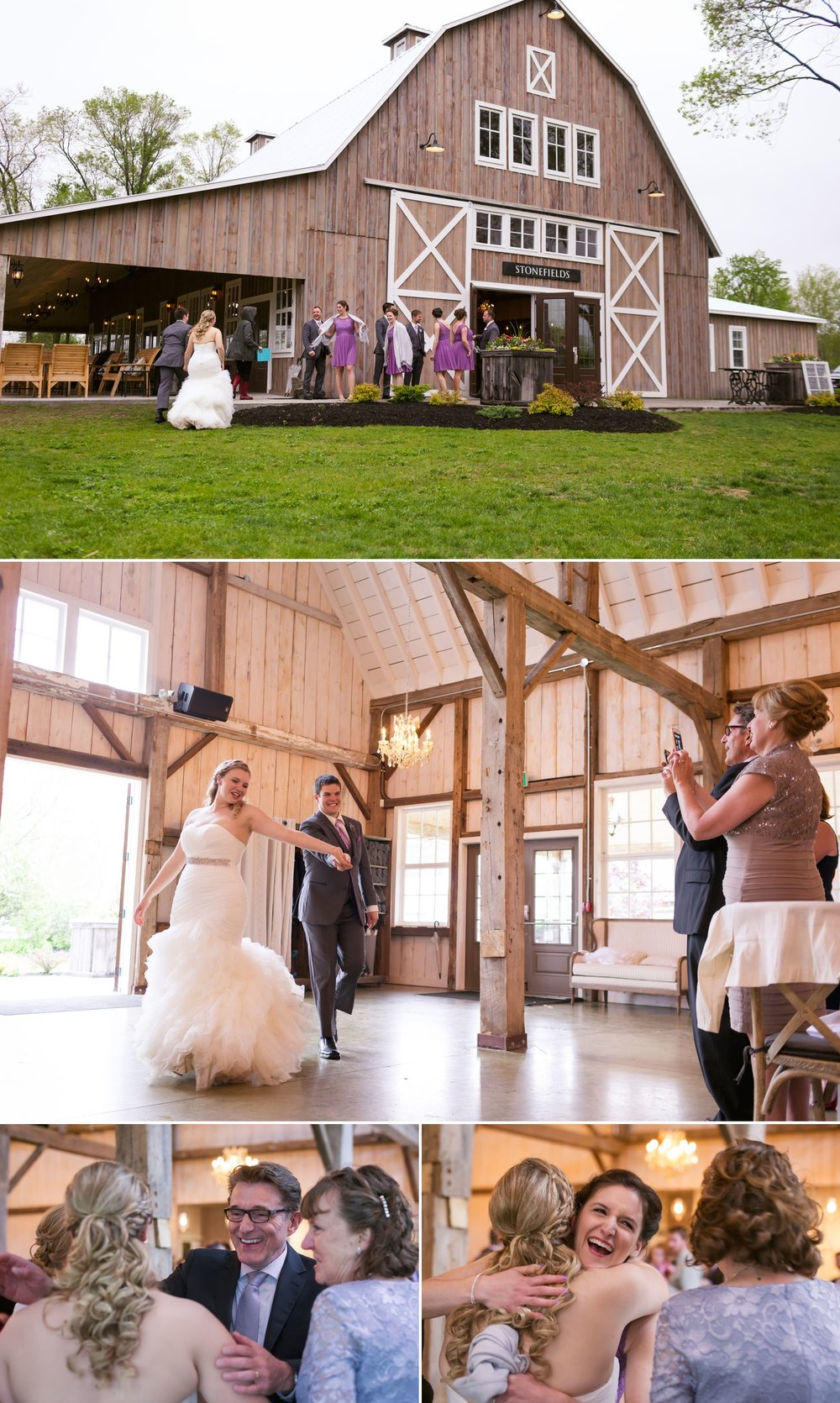 The bride and groom during their entrance into their wedding reception in the newly built barn loft at Stonefields