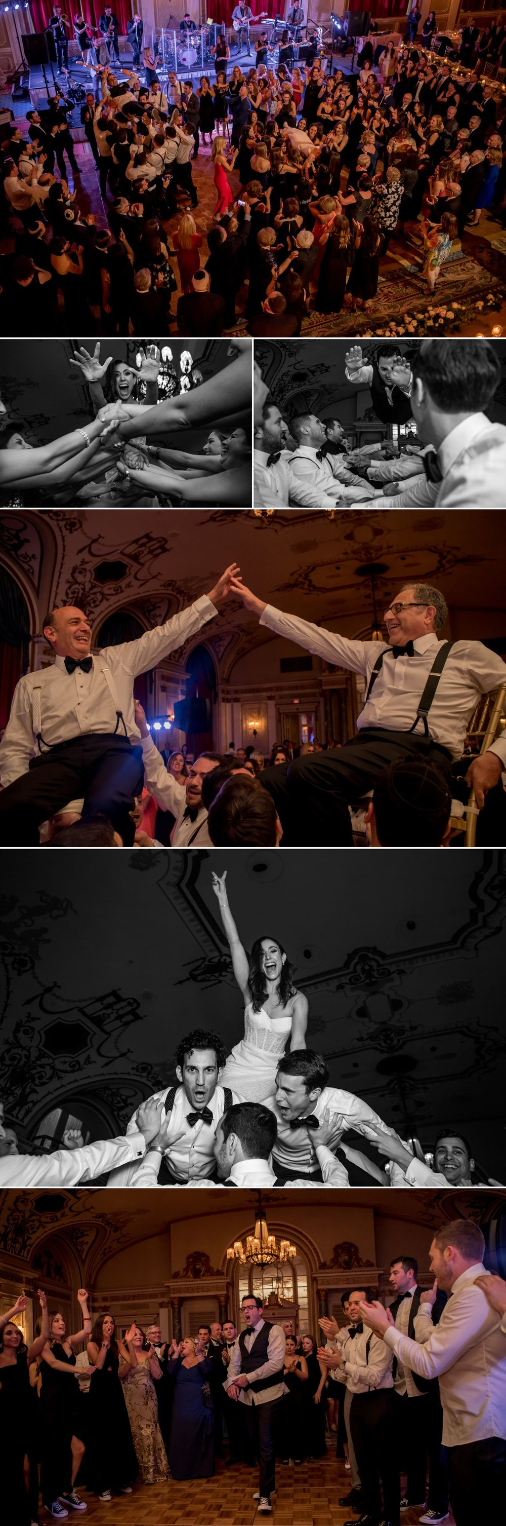 candid moments during horah dance at a jewish wedding in the chateau laurier ballroom in ottawa ontario