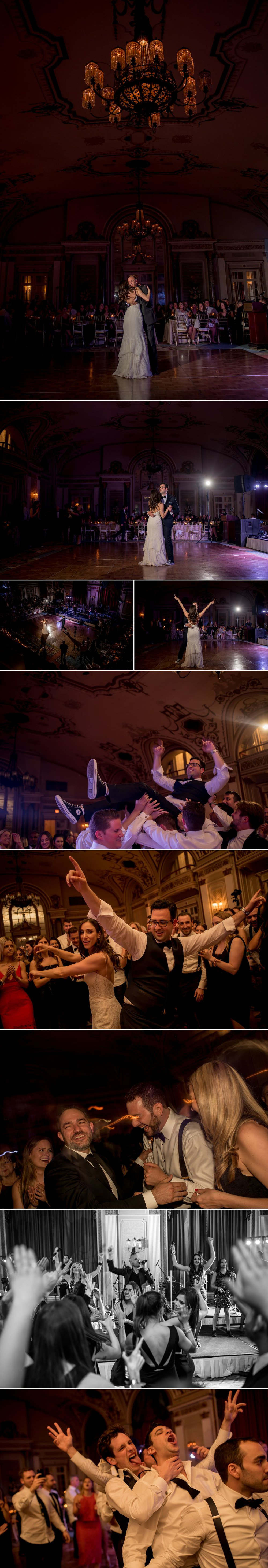candid moments during a dance party at a jewish wedding reception at the chateau laurier ballroom in ottawa ontario