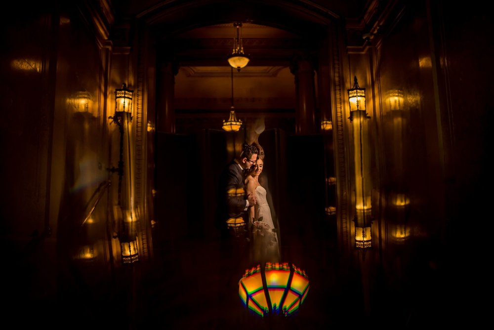 bride and groom night portrait at chateau laurier in ottawa ontario