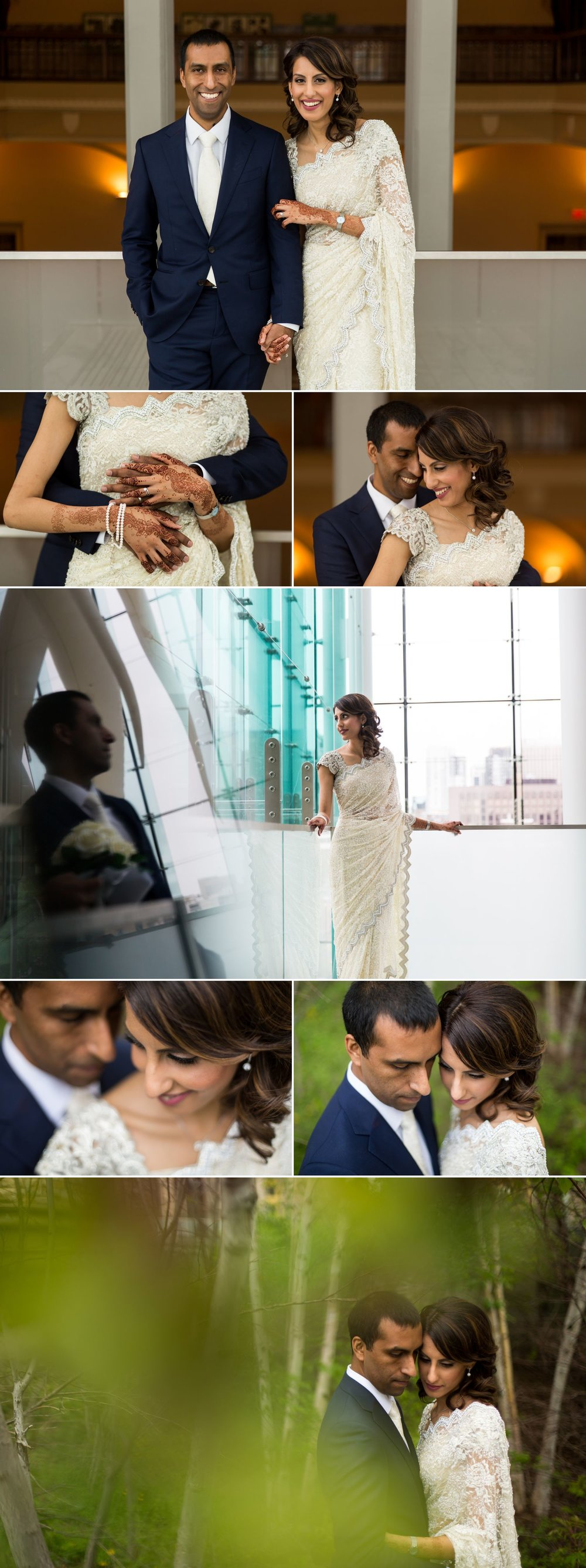 Portraits of the bride and groom at The Museum of Nature