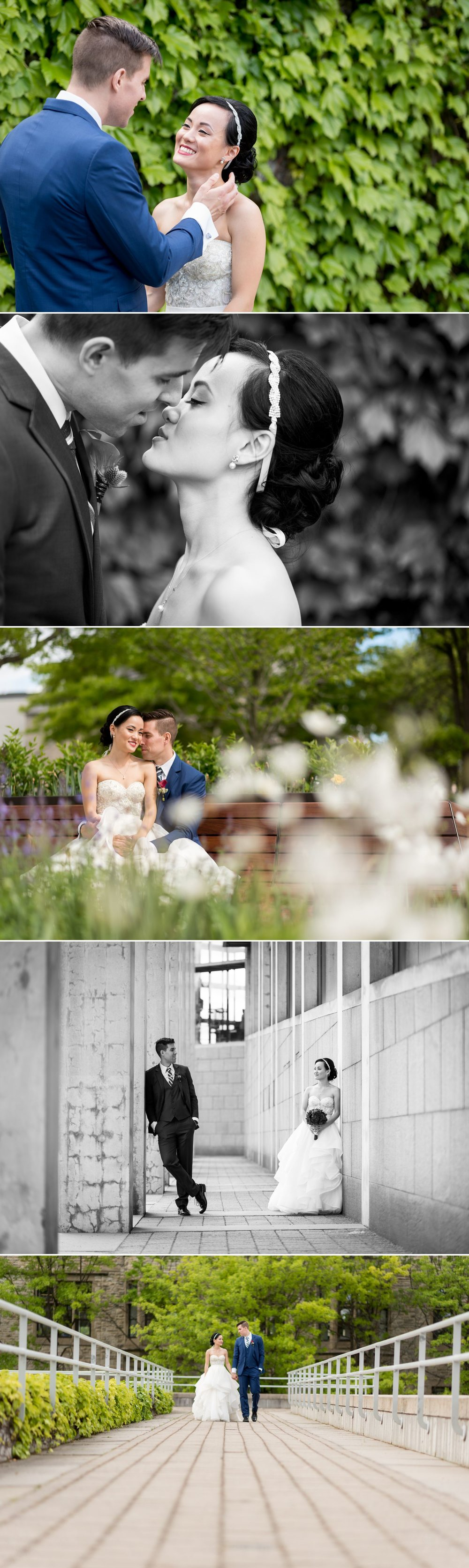 Outdoor wedding portraits of the bride and groom in downtown Ottawa