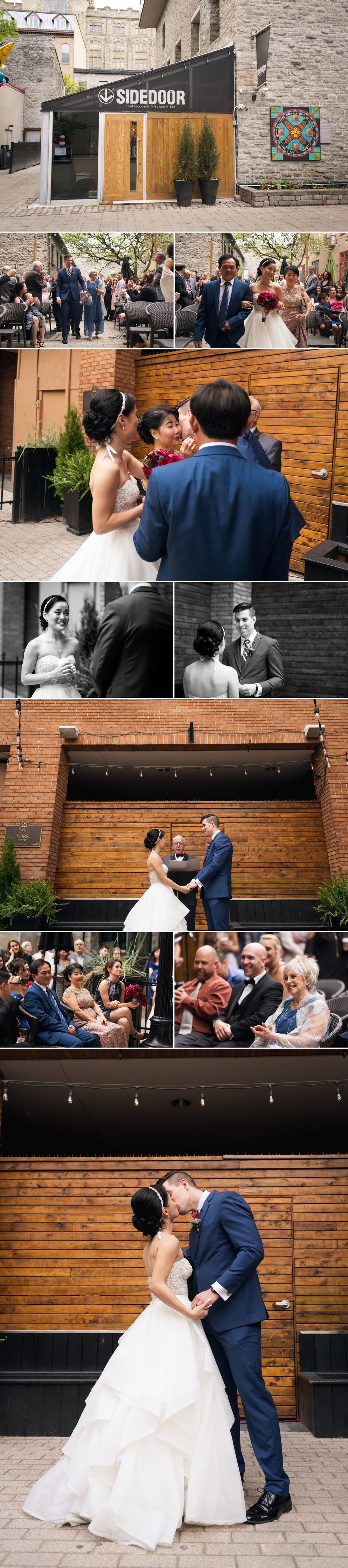 An outdoor wedding ceremony held at Sidedoor Restaurant in downtown Ottawa