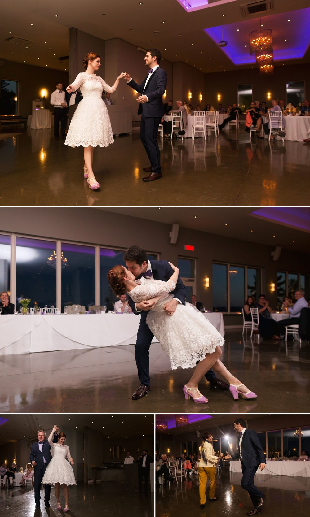 The bride and groom during their first dance at their Belvedere wedding reception in Wakefield, Quebec