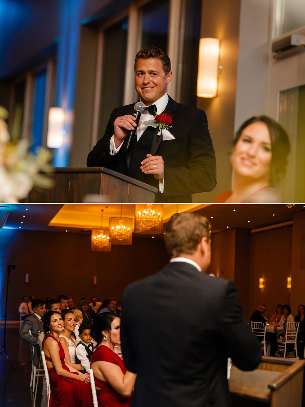The groom saying his speech to his bride during their wedding reception at Le Belverdere