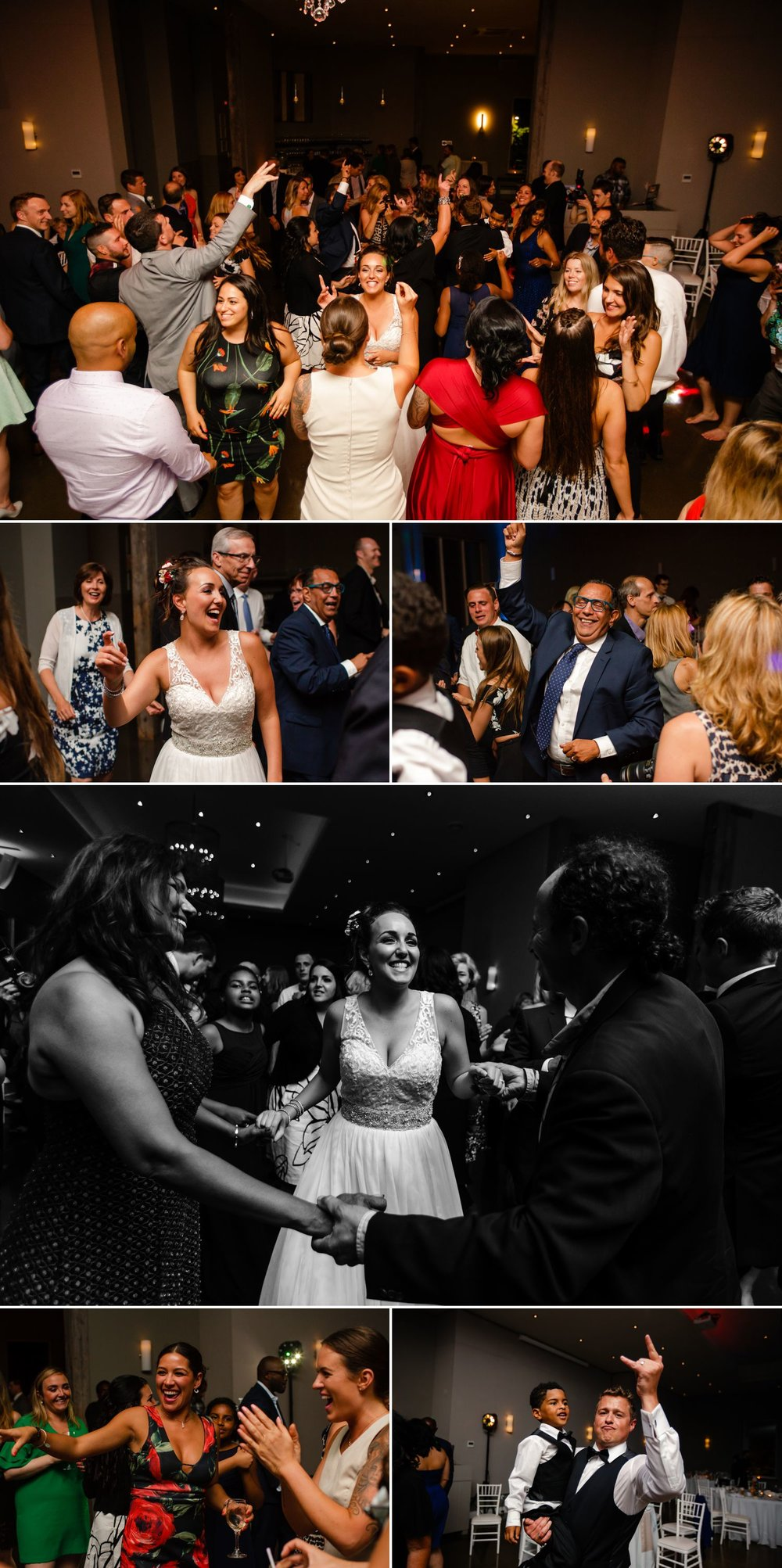 The bride and groom dancing with their guests during their wedding reception at Le Belvedere