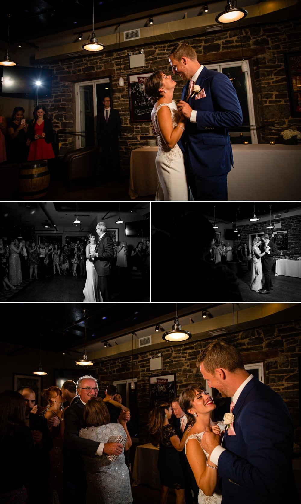 The bride and groom during their first dances at their wedding reception at The Mill St Brew Pub in downtown Ottawa