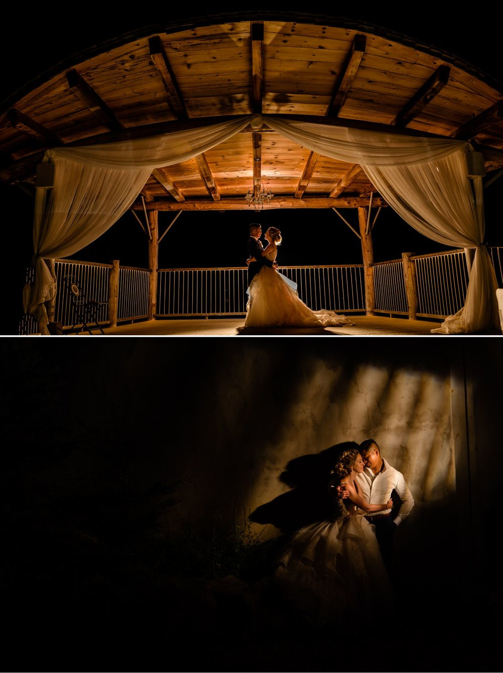 nightime portraits of bride and groom at a le belvedere wedding in wakefield quebec