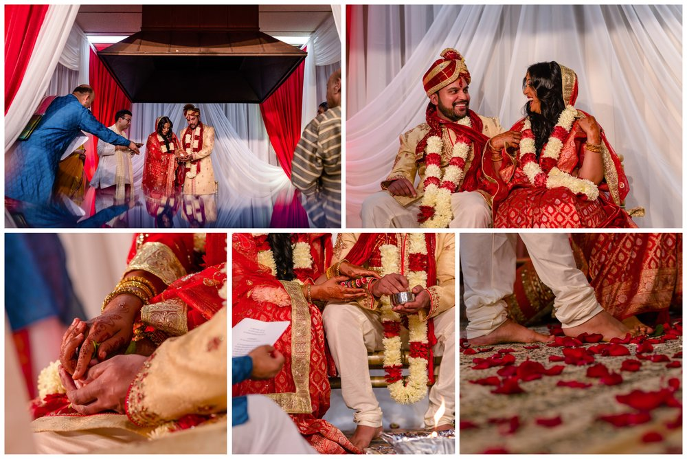 Photos of an Indian couple at their wedding ceremony