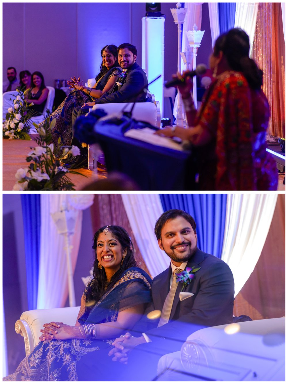 Indian couple listening to speeches at their wedding reception