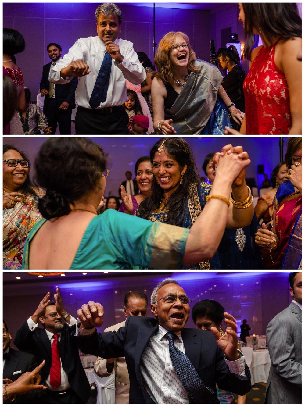 photos of dancing at an Indian wedding reception