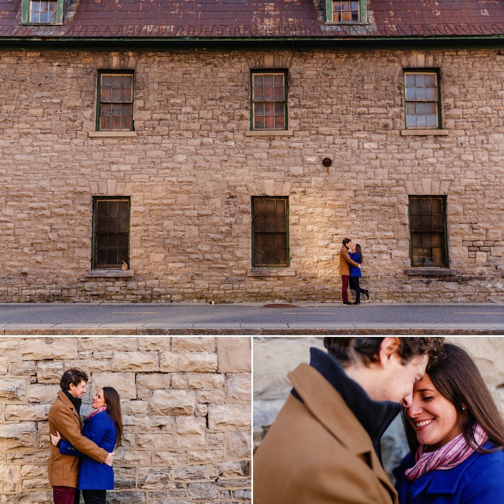 Couples portraits taken in front of an old stone building in Gatineau Quebec