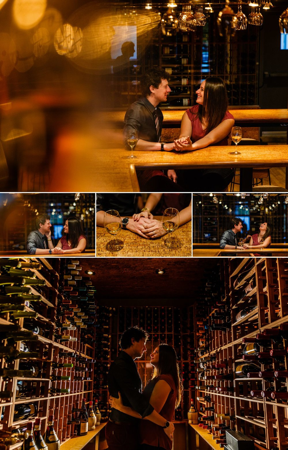 Couples portraits taken at a wine bar in Gatineau Quebec
