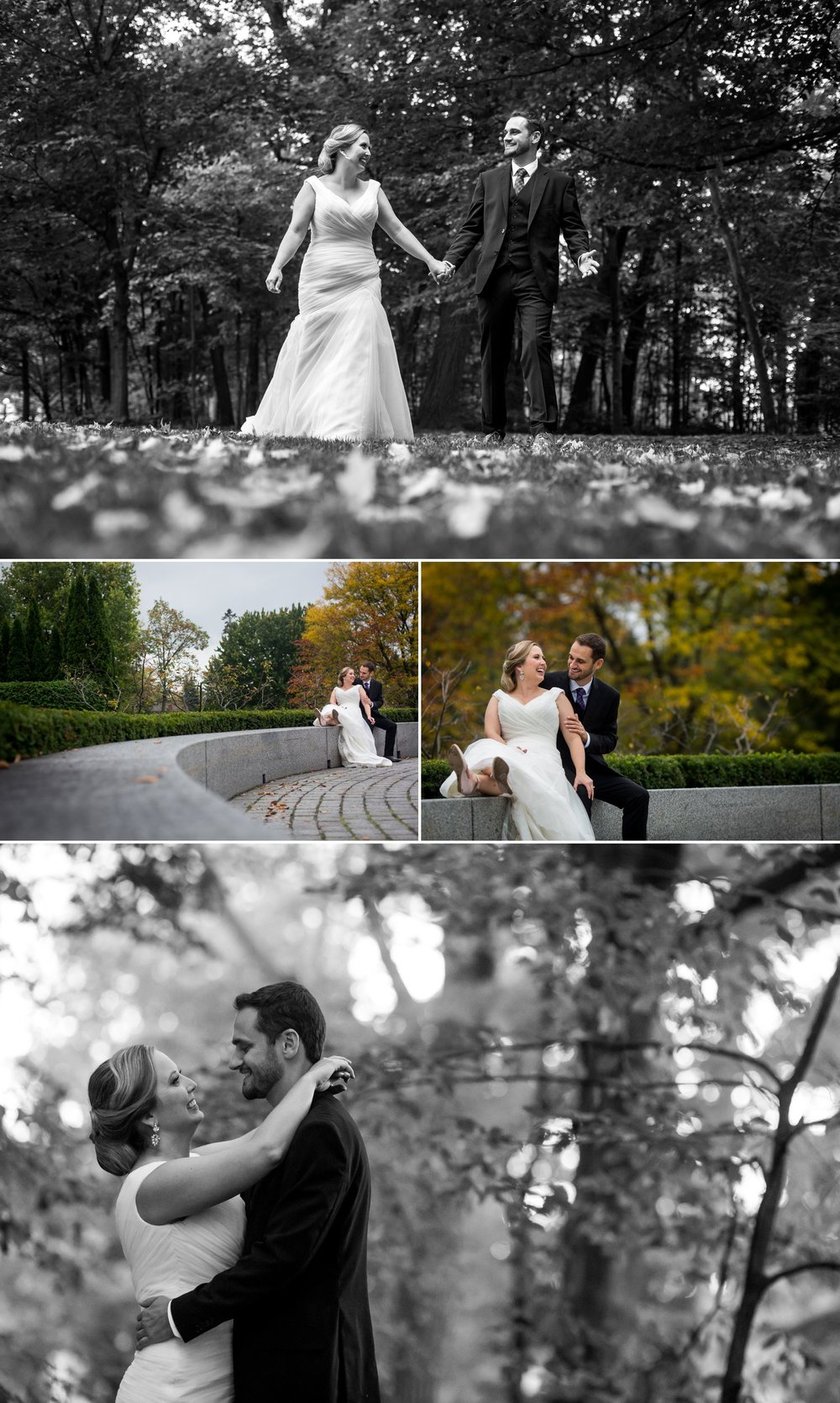 Portraits of the bride and groom taken outside at Rockcliffe Park in Ottawa