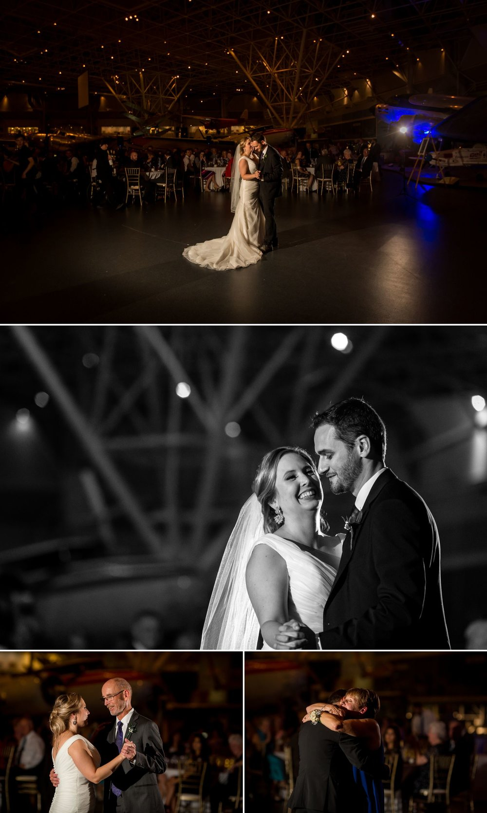 The bride and groom during their first dances at their wedding reception inside the Canadian Aviation and Space Museum in downtown Ottawa