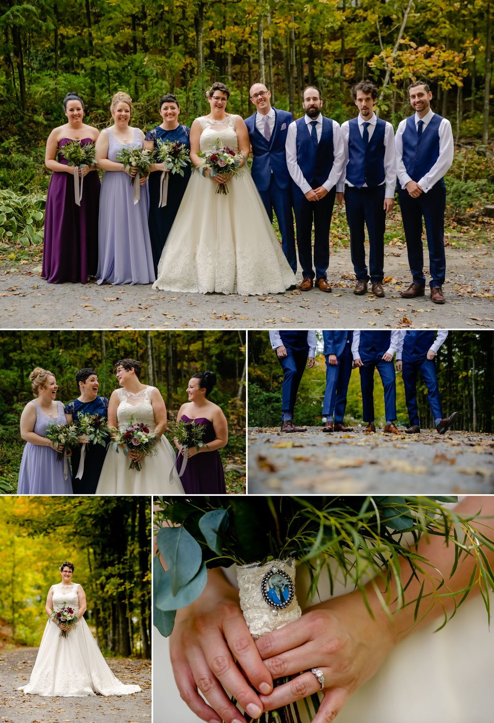 Portraits taken of the bride and groom and their wedding party party after their outdoor ceremony at La Grange de la Gatineau