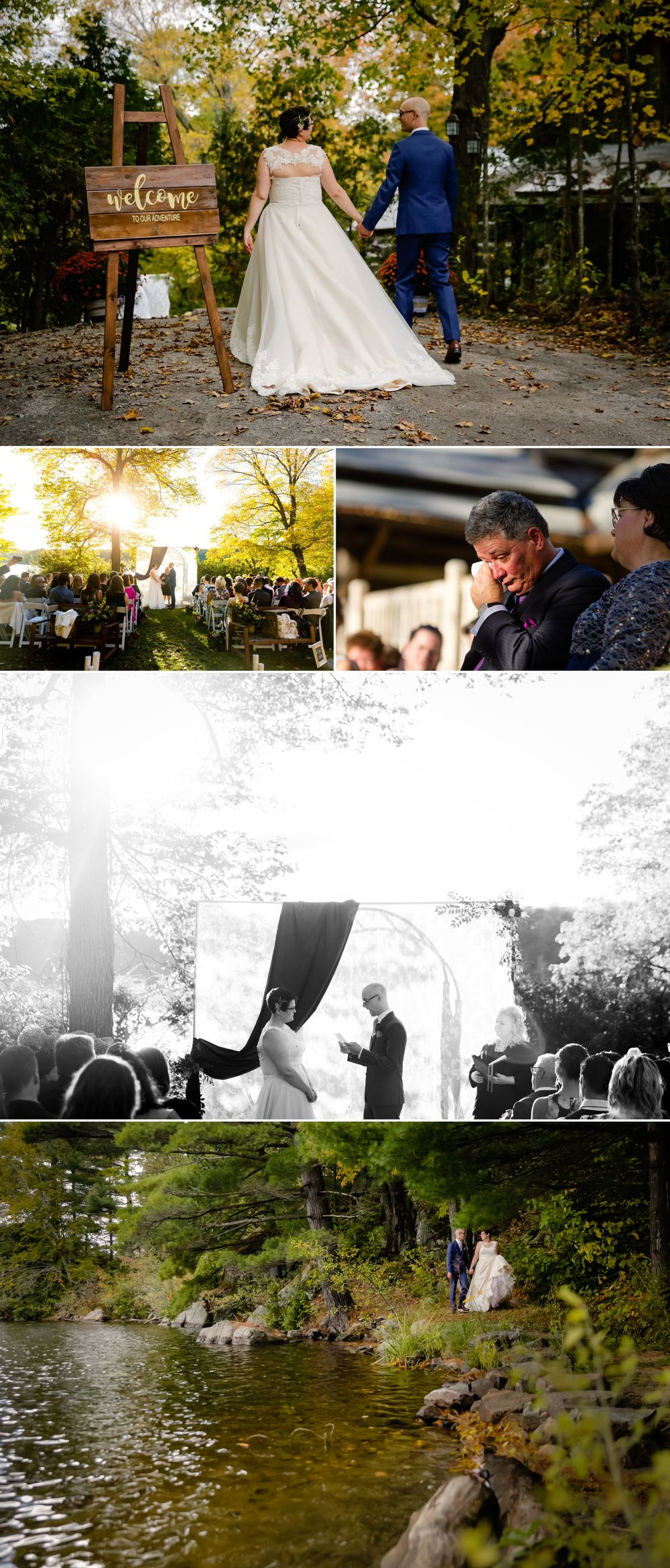 An outdoor wedding ceremony taking place in the fall at La Grange de la Gatineau