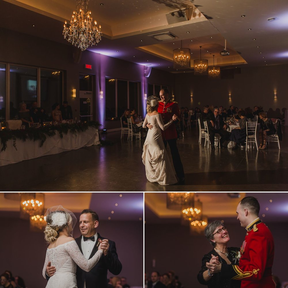 The bride and groom during their first dances at their wedding reception at Le Belvedere in Wakefield Quebec