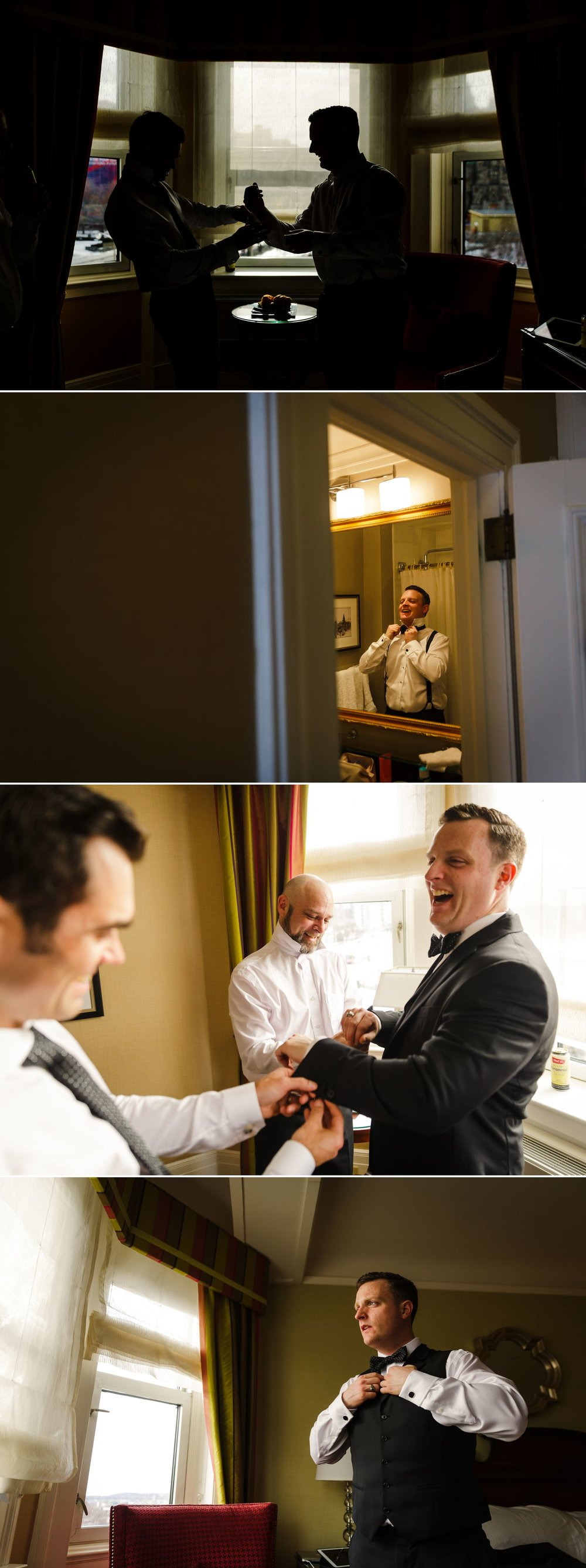The Groom and his groomsmen getting ready at their home in Ottawa
