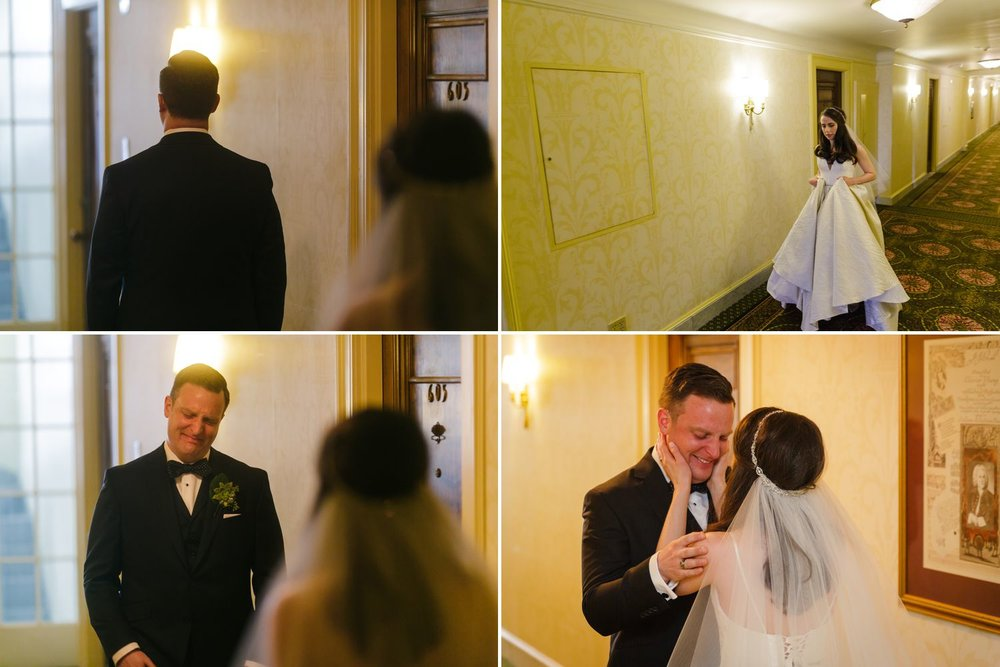 The bride and groom during their first look taking place inside the Chateau Laurier in downtown Ottawa