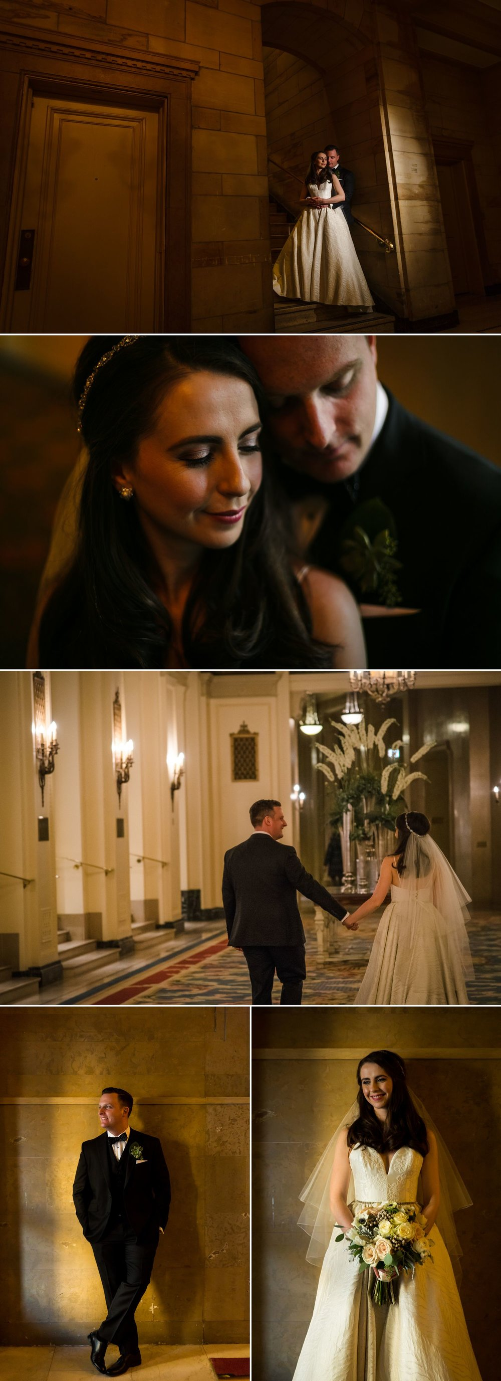 Portraits of the bride and groom taken inside the Chateau Laurier in downtown Ottawa