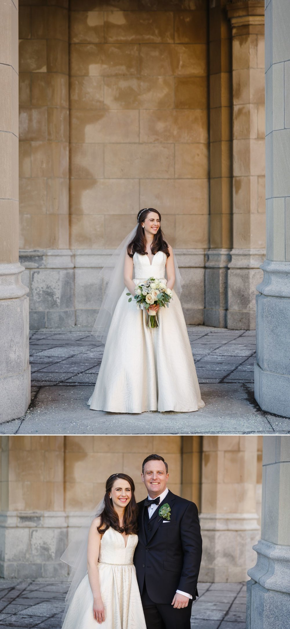Portraits of the bride and groom taken outside the Chateau Laurier in downtown Ottawa