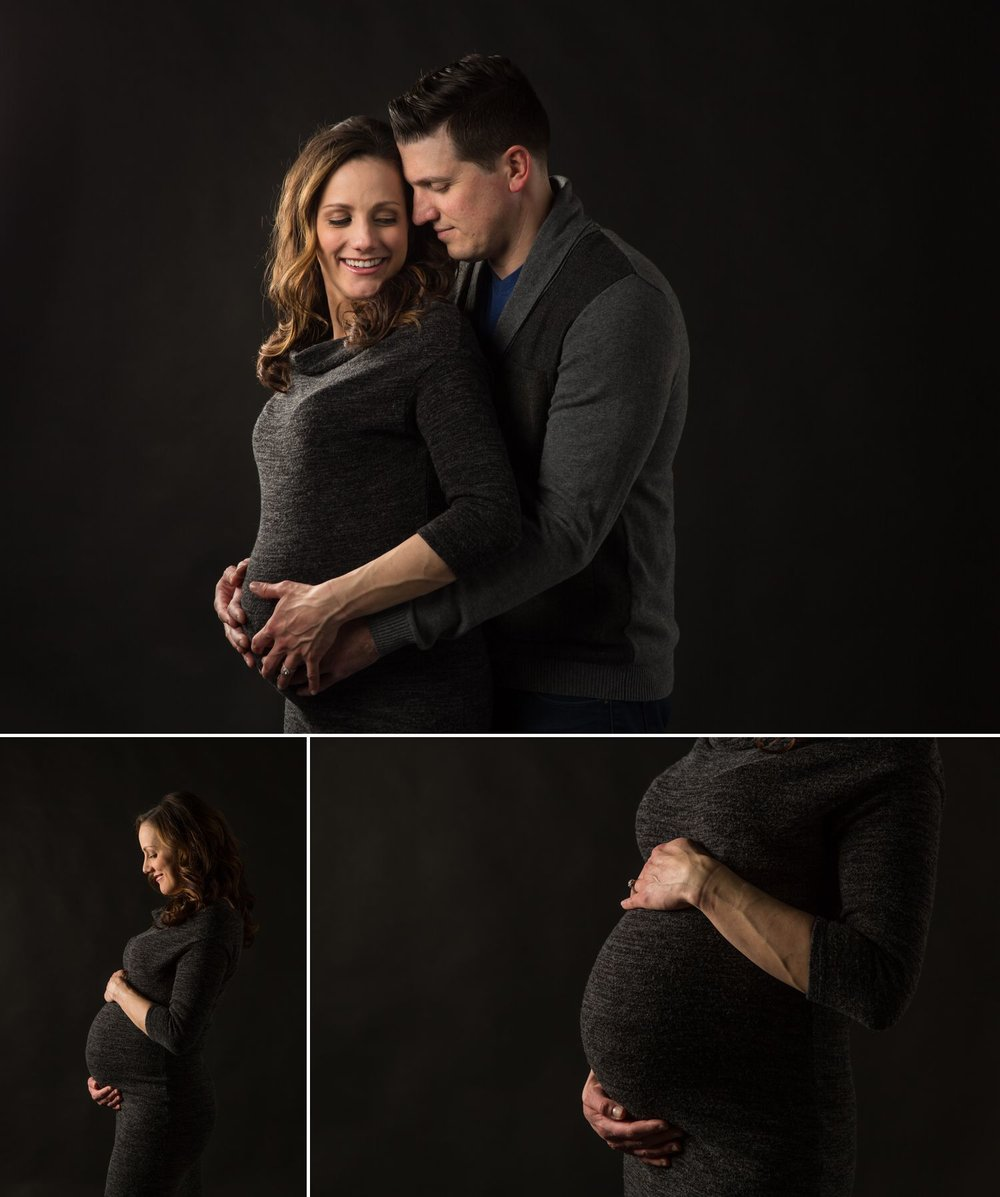 couples maternity photography on a black background