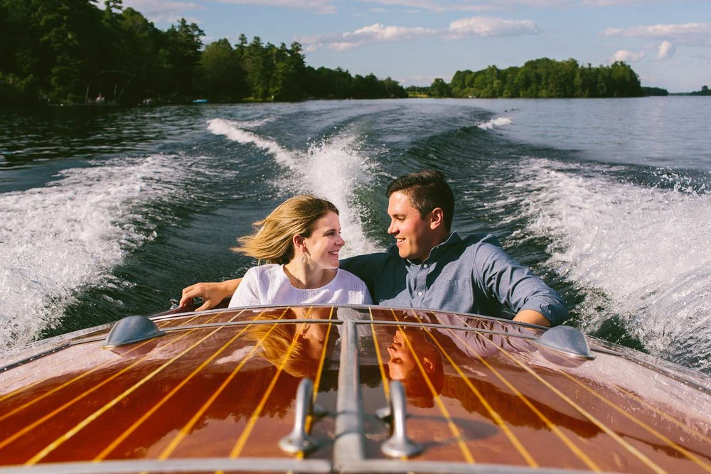 engagement photograph in cottage country on a boat