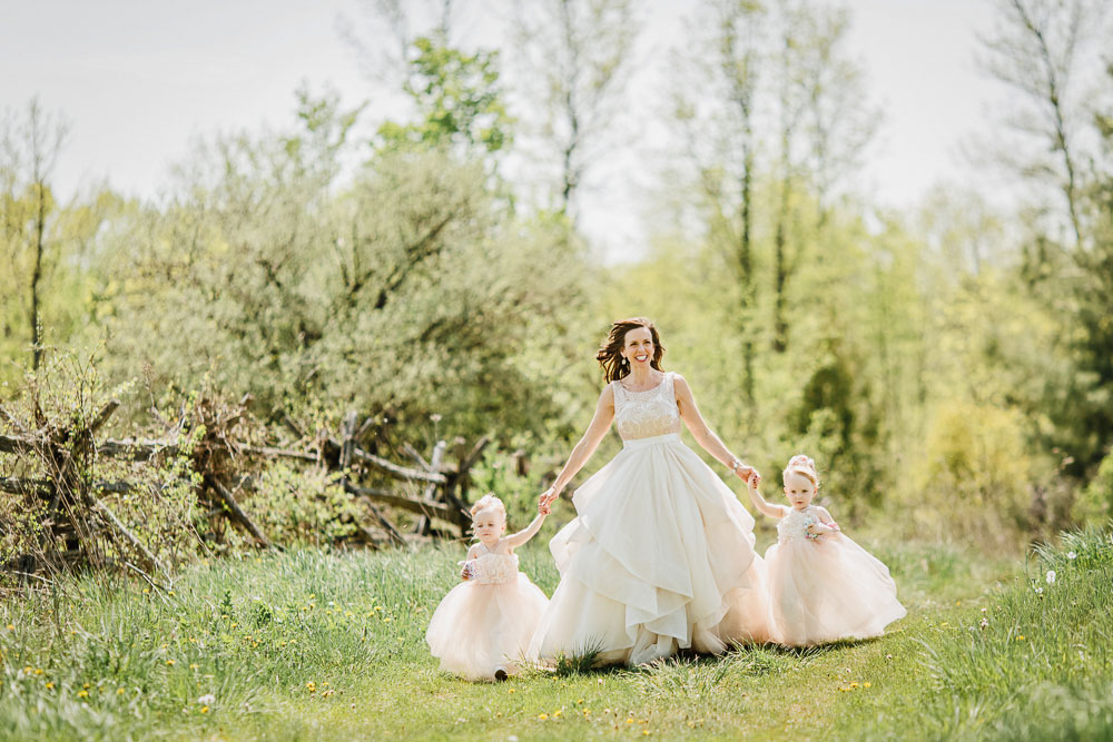beautiful photo of a bride and her daughters at stonefields estate