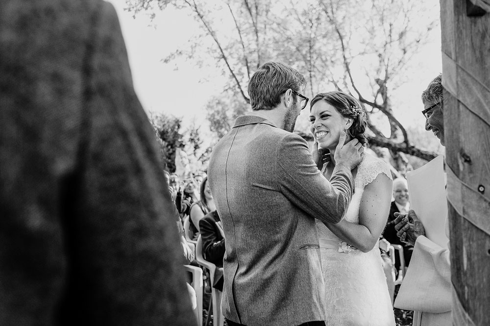 emotional black and white wedding photograph