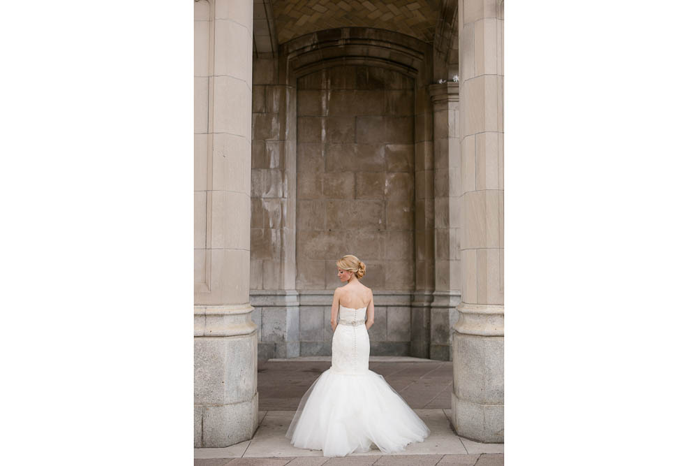 elegant photograph of a bride outside the chateau laurier