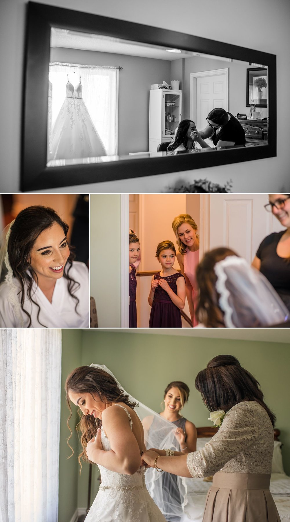 The bride with her bridesmaid, friends and family getting ready at her family home in Ottawa
