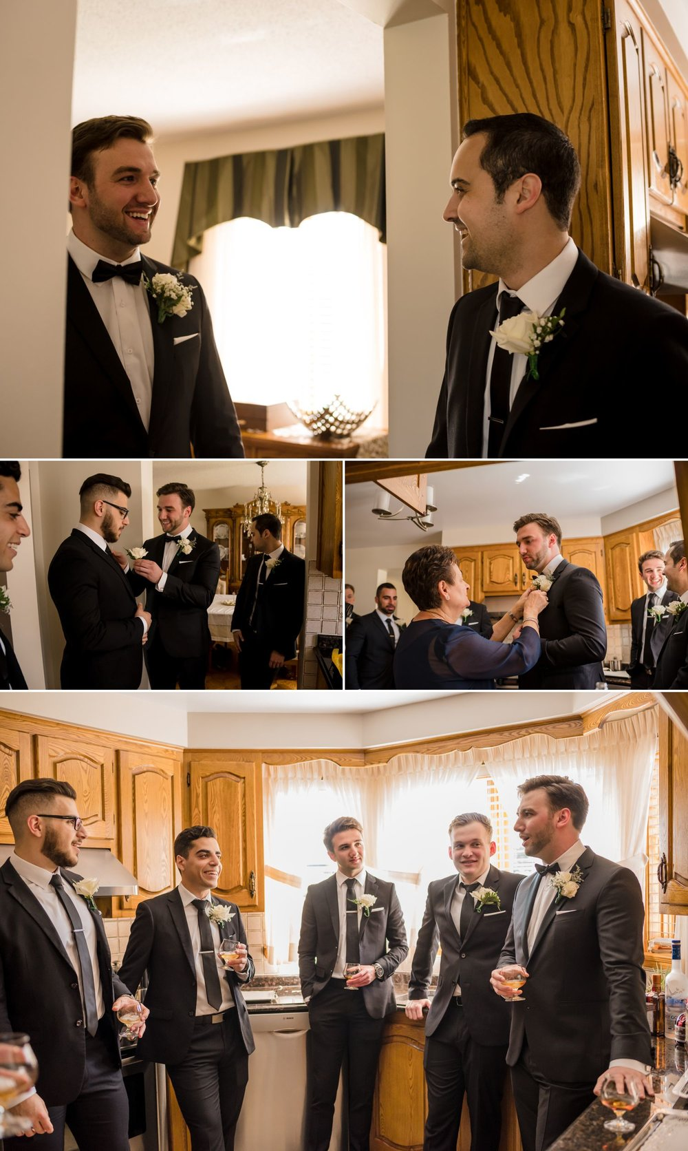 The groom with his groomsmen and family getting ready at his family home in Ottawa